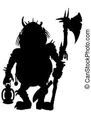 kabouter, bijl, silhouette, lantaarntje