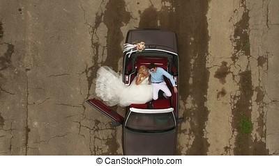 kabrió, autó, esküvő, kilátás, alapján, tető, antenna