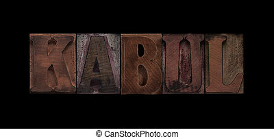 Kabul in old wood type