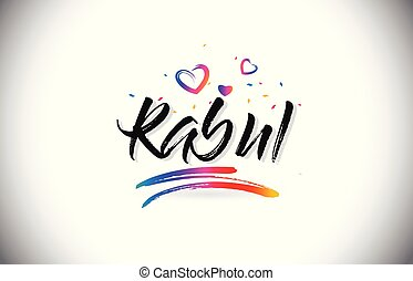 Kabul Welcome To Word Text with Love Hearts and Creative Handwritten Font Design Vector.