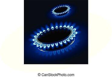 kachels, afbeelding, gas