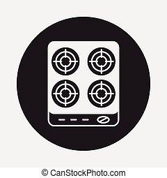 kachels, gas, pictogram