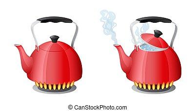 kachels, ketel, water, koken, vlam, rood, keuken
