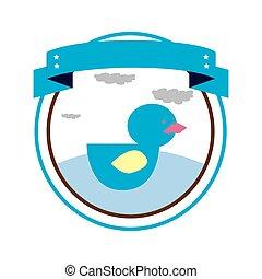 kacsa, játékszer, határ, kör alakú, címke