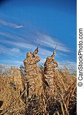 kacsa, vadászok, célzás, feláll, bele, ég, képben látható, napos nap