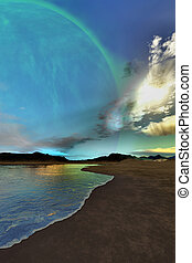 Beautiful skies shine down on this cosmic seascape.