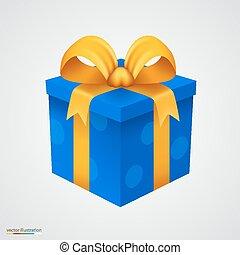 kado, blauwe doos, met, gouden, ribbon.