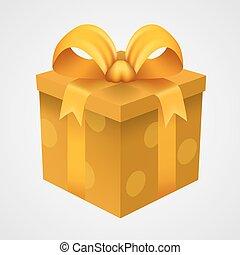 kado, gele doos, met, gouden, ribbon.