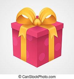 kado, rode doos, met, gouden, ribbon.