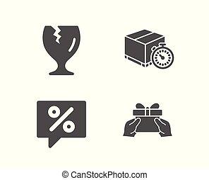kado, teken., icons., boodschap, tijdopnemer, korting, aflevering, geven, breekbaar pakket