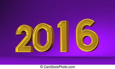 Kadomatsu And 2016 On Purple Background. 3D render Animation...