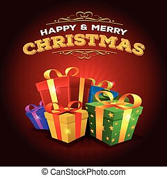 kadootjes, achtergrond, stapel, zalige kerst