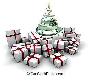 kadootjes, boompje, kerstmis, onder