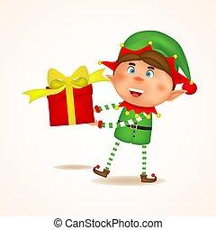 kadootjes, box., geven, concept., spotprent, kerstmis, illustratie, kadootjes, achtergrond., kerstmis, elf, gift., witte , vasthouden, blij, isolated., vector