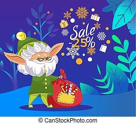 kadootjes, elf, zak, kerstmis, verkoop, bos