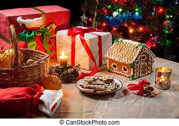 kadootjes, en, peperkoekkoekjes, op de tafel, op, kerstavond