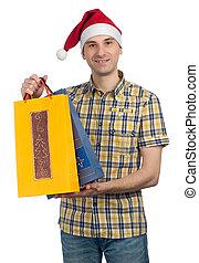 kadootjes, hoedje, kerstmis, kerstman, man