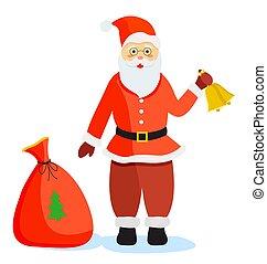 kadootjes, kerstmis, kerstman, staand, zak, claus
