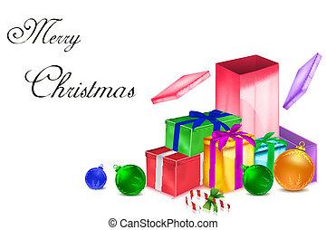 kadootjes, kleurrijke, kerstmis kaart