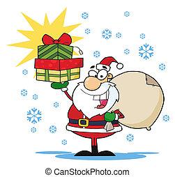 kadootjes, opper boven, kerstman, vasthouden