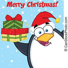 kadootjes, penguin, op, vasthouden, stapel