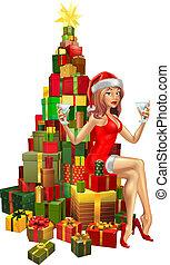 kadootjes, vrouw, stapel, kerstman