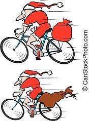 kadootjes, zak, claus, kerstman, fiets