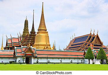 kaew, bangkok, phra, templo, esmeralda, tailandia, wat,...