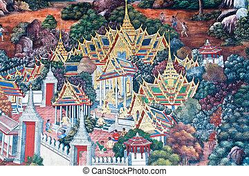 kaew, phra, pared, mural, bangkok, tailandés, wat, pintura