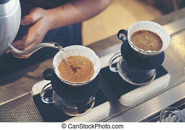 kaffe, årgång, avbild, droppa, filtrera, cafe