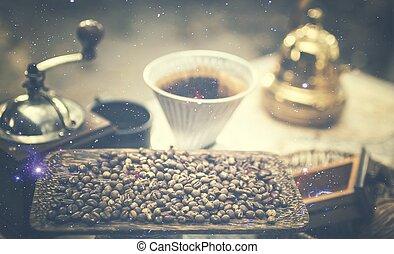 kaffe, årgång, avbild, droppa, utrustning, filtrera, frisk