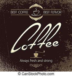 kaffe, årgång, meny, bakgrund