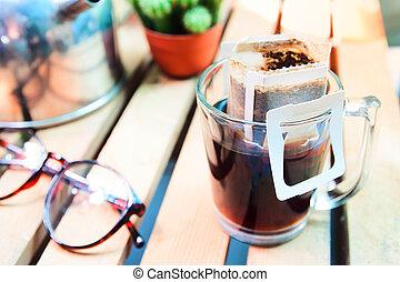 kaffe, ögonblick, glas, kaffe, droppa, brygg, väska, nytt, frisk