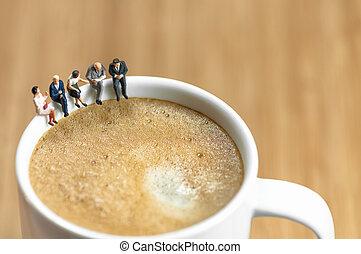 kaffe, affärsverksamhet bräck, miniatyr, lag, ha