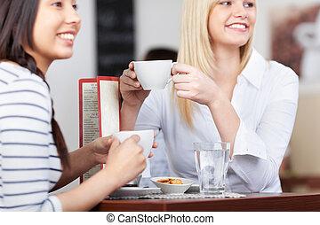 kaffe, avkopplande, kopp, folk, ung, cafe