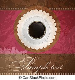 kaffe, bakgrund, inbjudan