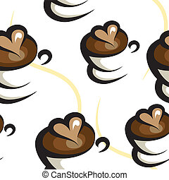 kaffe, bakgrund, seamless