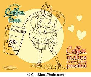 kaffe, bakgrund, tid