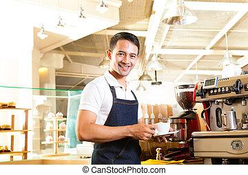 kaffe, barista, coffeeshop, -, presenterar, asiat