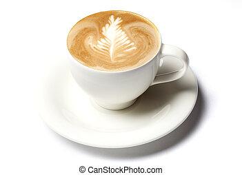 kaffe, barista, kopp, över, isolerat, vit