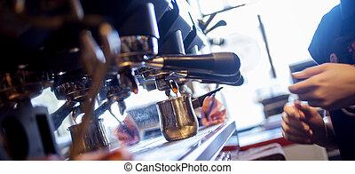 kaffe, barista, restaurang, ung, pub, förbereder sig, flicka...