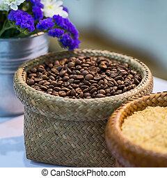 kaffe, beans., struktur, jord