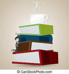 kaffe, begrepp, försökt, få, kopp, inridning, illustration, tecknad film, bok, klättra, tid, affärsman, mapp, stack