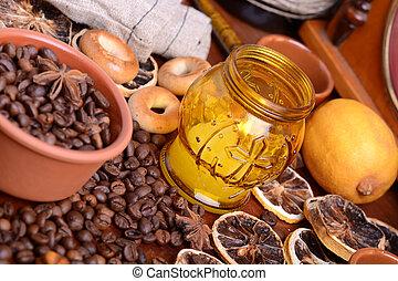 kaffe, citron, årgång, bönor, bakgrund, stearinljus, gammal