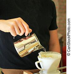 kaffe, droppa, hand