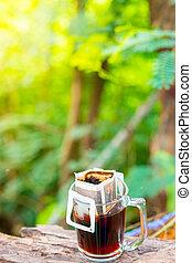 kaffe, droppa, solljus, varm, green., morgon, lysande