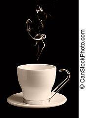 kaffe, eller, te kopp