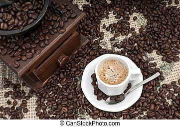 kaffe, expresso, kopp