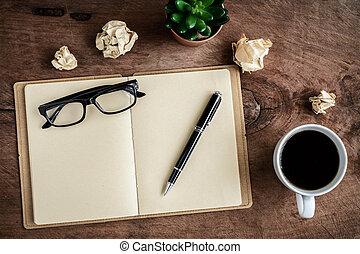 kaffe, gammal, kopp, trä, anteckningsbok, skrivbord