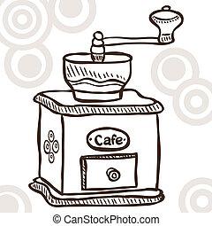 kaffe, gammal, kvarn